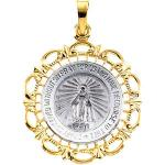 14K Two Tone Gold Miraculous Medal 25x21 mm