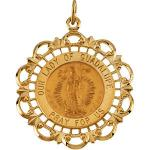 14K Gold Our Lady of Guadalupe Medal 31x26.5 mm
