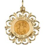 14K Gold St Anne Medal Filagree