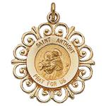 14K Gold St Anthony Medal Filagree