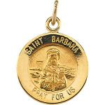 14K Gold St Barbara Medal Round