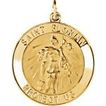 14K Gold St Florian Medal Round