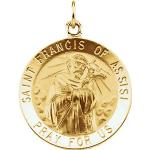 14K Gold St Francis of Assisi Medal Round
