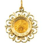 14K Gold St Francis of Assisi Medal Filagree