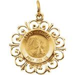 14K Gold St Francis of Assisi Medal Filagree Stigmata