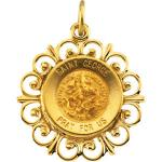 14K Gold St George Medal Filagree