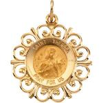 14K Gold St Theresa Medal Filagree