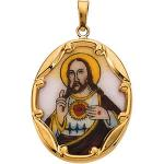 14K Hand Painted Porcelain Sacred Heart of Jesus Pendant