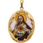 14K Hand Painted Porcelain Sacred Heart of Jesus Pendant