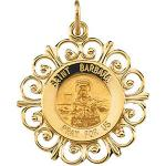 14K Gold St Barbara Medal Filagree