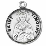 Sterling silver St Timothy Medal round.