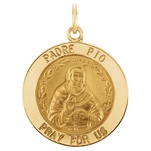 14K Gold St Padre Pio Medal Round
