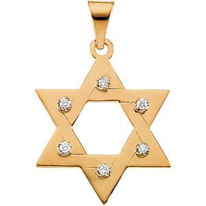 14K Gold and Diamond Star of David Pendant 25x19 mm