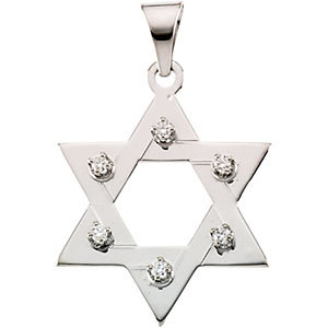 14k gold and diamond star of david pendant 25x19 mm aloadofball Images