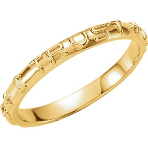 14K Gold Jesus I Trust In You Prayer Ring